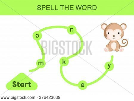 Maze For Kids. Spelling Word Game Template. Learn To Read Word Monkey, Printable Worksheet. Activity