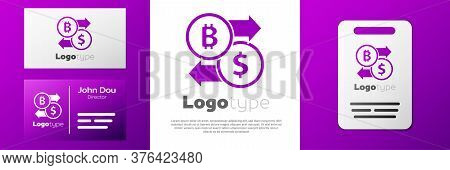 Logotype Cryptocurrency Exchange Icon Isolated On White Background. Bitcoin To Dollar Exchange Icon.
