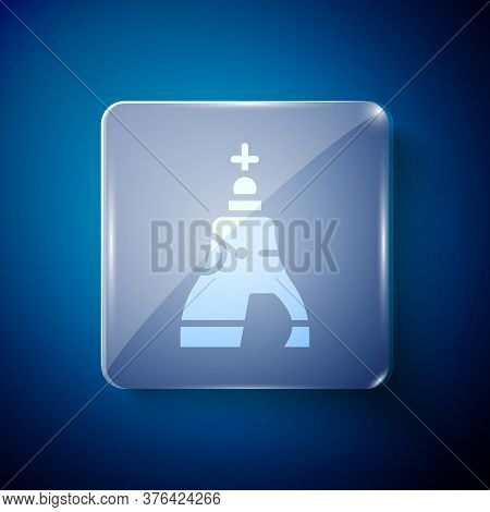White The Tsar Bell In Moscow Monument Icon Isolated On Blue Background. Square Glass Panels. Vector