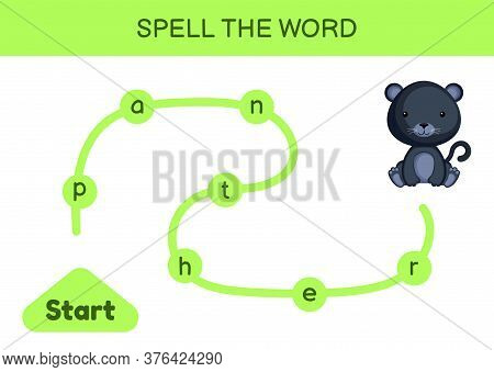 Maze For Kids. Spelling Word Game Template. Learn To Read Word Panther, Printable Worksheet. Activit