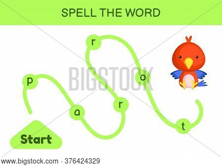 Maze For Kids. Spelling Word Game Template. Learn To Read Word Parrot, Printable Worksheet. Activity