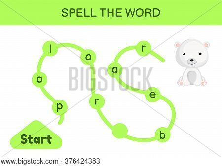Maze For Kids. Spelling Word Game Template. Learn To Read Word Polar Bear, Printable Worksheet. Acti