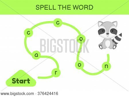 Maze For Kids. Spelling Word Game Template. Learn To Read Word Raccoon, Printable Worksheet. Activit