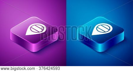 Isometric Location Russia Icon Isolated On Blue And Purple Background. Navigation, Pointer, Location