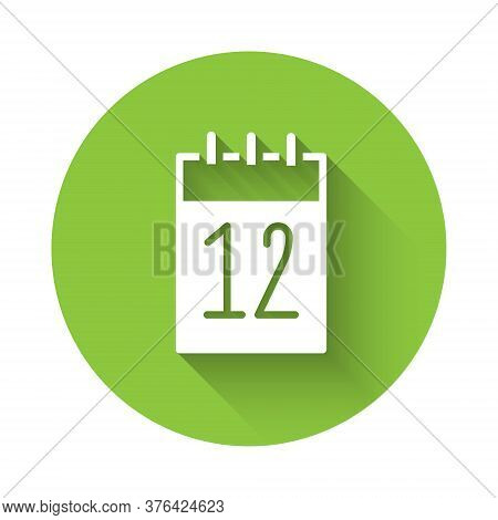 White Calendar 12 June Icon Isolated With Long Shadow. Russian Language 12 June Happy Russia Day. Gr