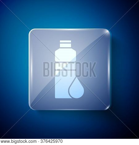 White Fitness Shaker Icon Isolated On Blue Background. Sports Shaker Bottle With Lid For Water And P