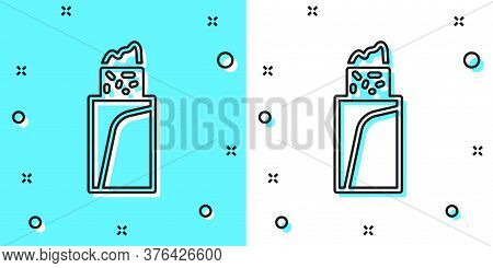 Black Line Burrito Icon Isolated On Green And White Background. Traditional Mexican Fast Food. Rando