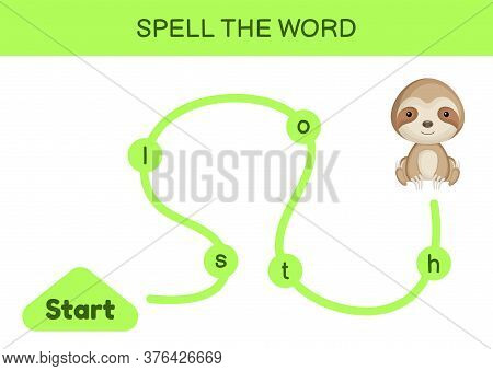 Maze For Kids. Spelling Word Game Template. Learn To Read Word Sloth, Printable Worksheet. Activity