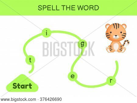 Maze For Kids. Spelling Word Game Template. Learn To Read Word Tiger, Printable Worksheet. Activity