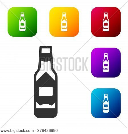 Black Tabasco Sauce Icon Isolated On White Background. Chili Cayenne Pepper Sauce. Set Icons In Colo
