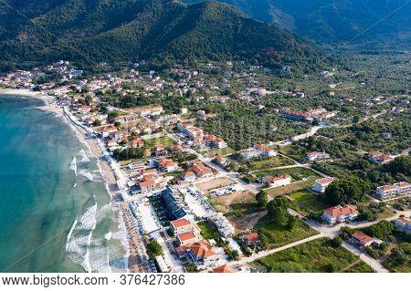 Landscape with amazing Golden Beach and Skala Potamia on Thassos, Aegean Sea, Greece