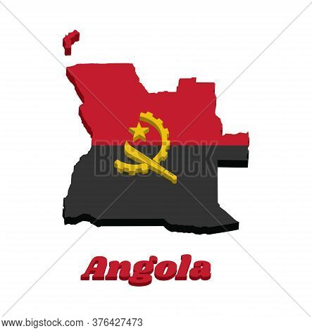 3d Map Outline And Flag Of Angola, Two Horizontal Bands Of Red And Black With The Machete And Gear E