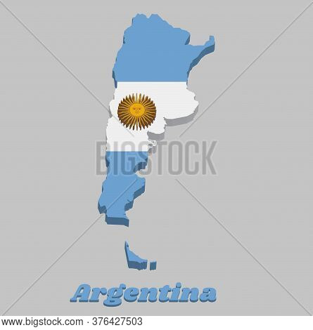3d Map Outline Of Argentina, A Horizontal Triband Of Light Blue (top And Bottom) And White With The