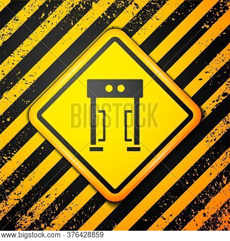 Black Metal Detector Icon Isolated On Yellow Background. Airport Security Guard On Metal Detector Ch