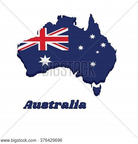 3d Map Outline And Flag Of Australia In Blue Red And White Color With White Star And Union Jack, Wit