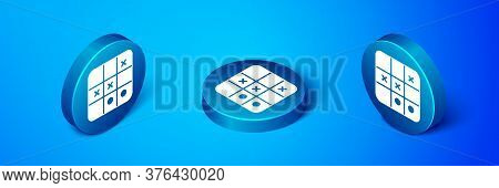 Isometric Tic Tac Toe Game Icon Isolated On Blue Background. Blue Circle Button. Vector