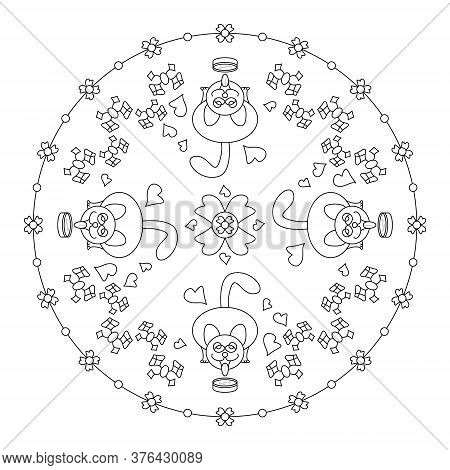 Cute And Funny Mandala. Cat Pulling His Tongue. Art Therapy. Anti-stress Coloring Page.