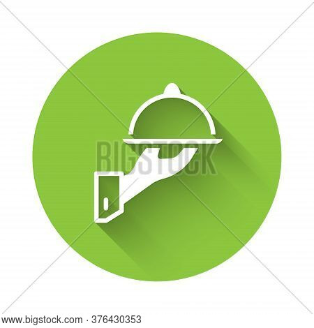 White Covered With A Tray Of Food Icon Isolated With Long Shadow. Tray And Lid Sign. Restaurant Cloc
