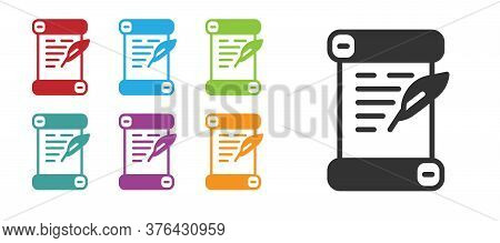 Black Decree, Paper, Parchment, Scroll Icon Icon Isolated On White Background. Set Icons Colorful. V