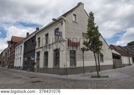 Tielrode, Belgium, June 21, 2020, Typical Local Old Folk Cafe In A Flemish Village