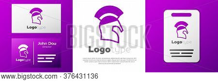 Logotype Greek Helmet Icon Isolated On White Background. Antiques Helmet For Head Protection Soldier