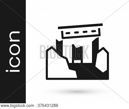 Black Ancient Ruins Icon Isolated On White Background. Vector