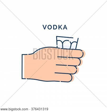 Male Hand Holding A Glass Of Vodka. Line Art Design Element On White Background. Fingers Human With