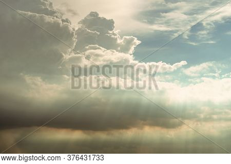 Heaven Sky And White Clouds. Heaven Sky With God Light. Spiritual Religious Background. Beautiful Na
