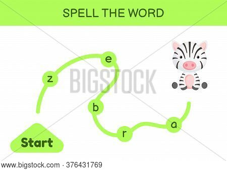 Maze For Kids. Spelling Word Game Template. Learn To Read Word Zebra, Printable Worksheet. Activity