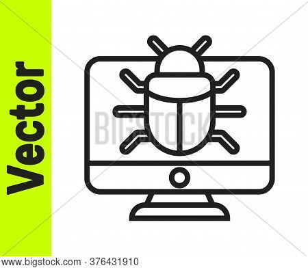 Black Line System Bug On Monitor Icon Isolated On White Background. Code Bug Concept. Bug In The Sys