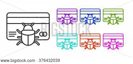 Black Line System Bug In Credit Card Icon Isolated On White Background. Code Bug Concept. Bug In The