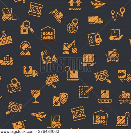 Cargo Delivery, Seamless Pattern, Color, Pencil Hatching, Badges, Gray And Orange, Vector. Cargo Tra