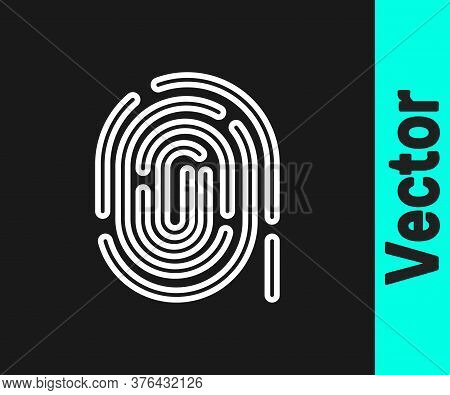 White Line Fingerprint Icon Isolated On Black Background. Id App Icon. Identification Sign. Touch Id