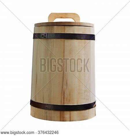 Wooden Tub Closed With Lid On White Background.
