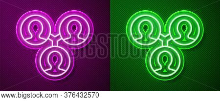 Glowing Neon Line Project Team Base Icon Isolated On Purple And Green Background. Business Analysis