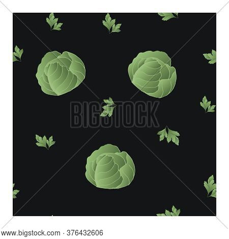 Seamless Pattern With Green Cabbage And Parsley Leaves On A Black Background. Vegetable Pattern. Pat