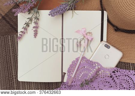 Mock up with sun hat and diary on a plaid mat, outdoor flat lay photo, girlish secrets concept