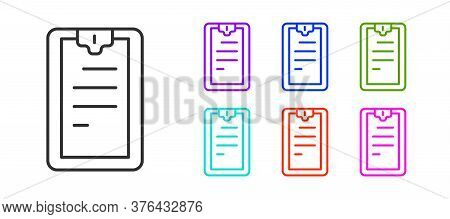 Black Line Clipboard With Checklist Icon Isolated On White Background. Control List Symbol. Survey P