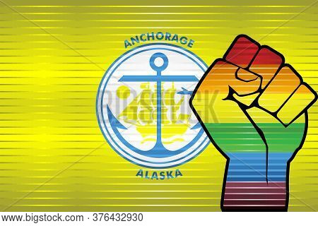 Shiny Lgbt Protest Fist On A Anchorage Flag - Illustration,  Abstract Grunge Anchorage Flag And Lgbt