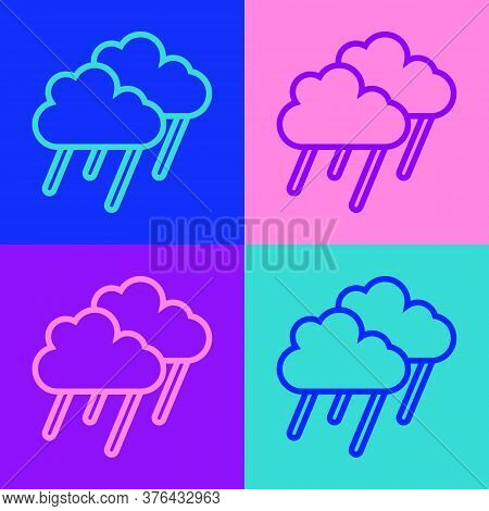 Pop Art Line Cloud With Rain Icon Isolated On Color Background. Rain Cloud Precipitation With Rain D