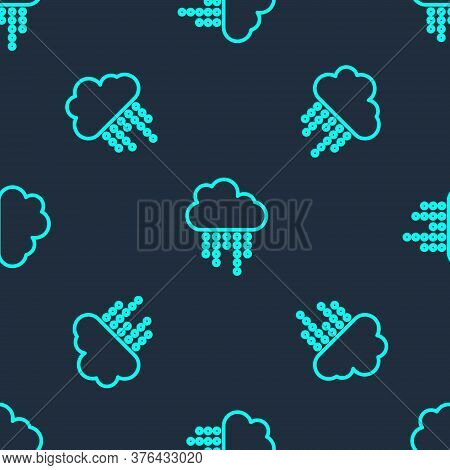 Green Line Cloud With Rain Icon Isolated Seamless Pattern On Blue Background. Rain Cloud Precipitati