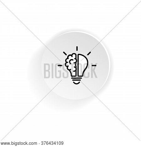 Half Brain Half Bulb Line Icon. Creative Ideas Concept. Vector On Isolated White Background. Eps 10