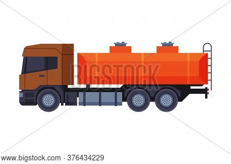 Oil Gasoline Tanker Truck, Gasoline And Petroleum Production Industry Flat Style Vector Illustration