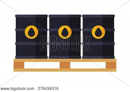 Black Oil Barrels On Wooden Pallet, Gasoline And Petroleum Production Industry Flat Style Vector Ill