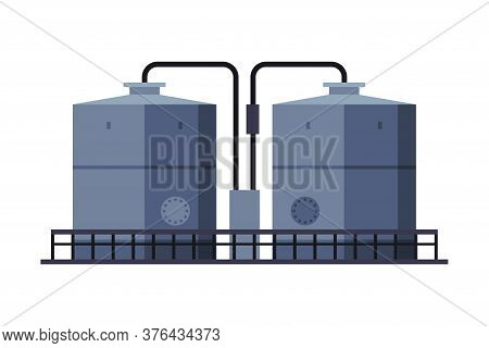Oil Tank Cylinder, Storage Reservoir, Gasoline And Petroleum Production Industry Flat Style Vector I