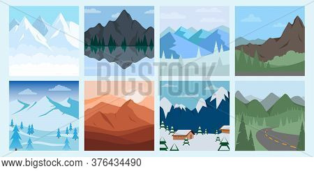 Different Vector Mountains Landscape Set Vector Illustration. Vector Mountain And Forest With Hills