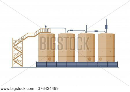 Oil Tanks With Ladder, Benzine, Fuel Cylinders, Storage Reservoirs, Gasoline And Petroleum Productio