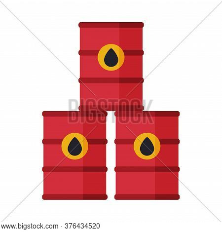Red Oil Barrels, Gasoline And Petroleum Production Industry Flat Style Vector Illustration On White