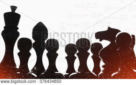 Black Chess Pieces Standing Over White Background. Collage With Math Formulas. Education And Strateg