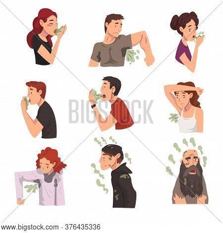 Bad Smelling People Collection, Men And Women Having Having Bad Breath And Personal Hygiene Problems